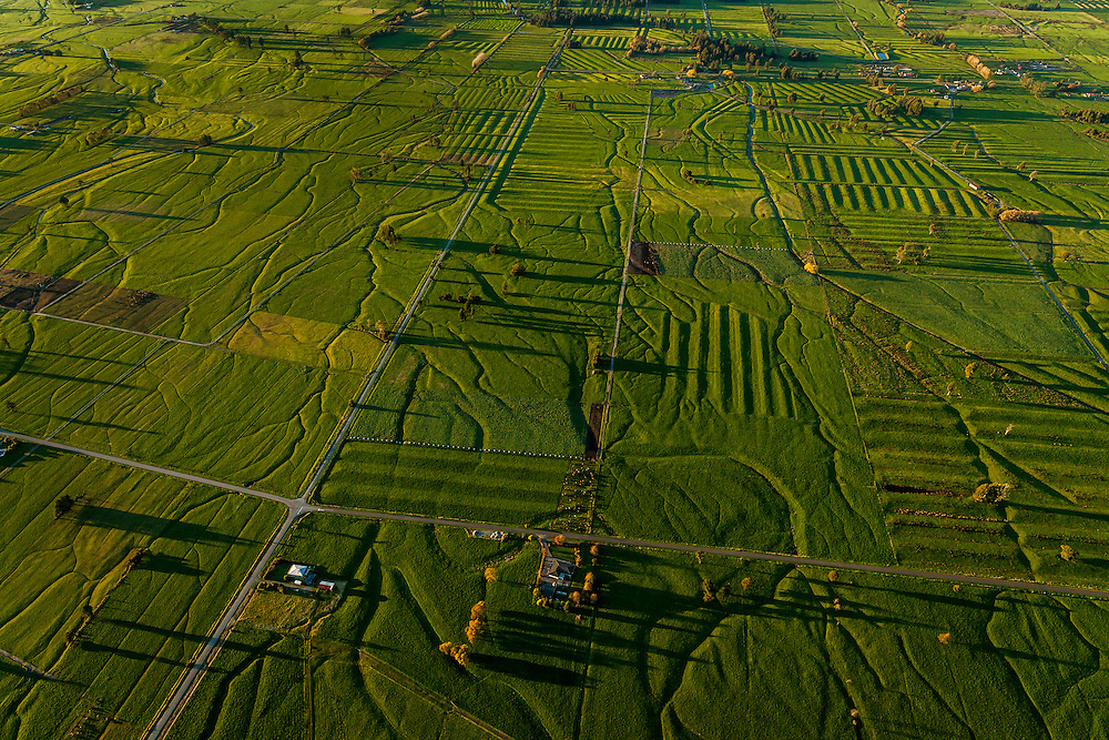 Aerial view of lush farmland in the Hokitika Valley. Late afternoon light shows up the textures in the land.
