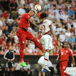04.08.2015, Allianz Arena, Muenchen, GER, AUDI CUP, FC Bayern Muenchen vs AC Mailand, im Bild Kopfballduell zwischen Jerome Boateng (FC Bayern Muenchen) und Luiz Adriano (AC Mailand) // during the 2015 AUDI Cup Match between FC Bayern Muenchen and AC Mailand at the Allianz Arena in Muenchen, Germany on 2015/08/04. EXPA Pictures © 2015, PhotoCredit: EXPA/ Eibner-Pressefoto/ Stuetzle<br /> <br /> *****ATTENTION - OUT of GER*****