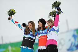 Olympic Winter Games Vancouver 2010 - Olympische Winter Spiele Vancouver 2010, Snowboard (Ladies' Snowboard Cross), Deborah Anthonioz, left, of France, Maelle Ricker of Canada and Olivia Nobs of Switzerland celebrate during the flowers ceremony for the women's snowboard cross at Cypress Mountain in Vancouver BC, Canada during the 2010 Winter Olympics Tuesday February 16, 2010..Photo by newsport / HOCH ZWEI / SPORTIDA.com.... *** Local Caption *** +++ www.hoch-zwei.net +++ copyright: HOCH ZWEI / newsport +++
