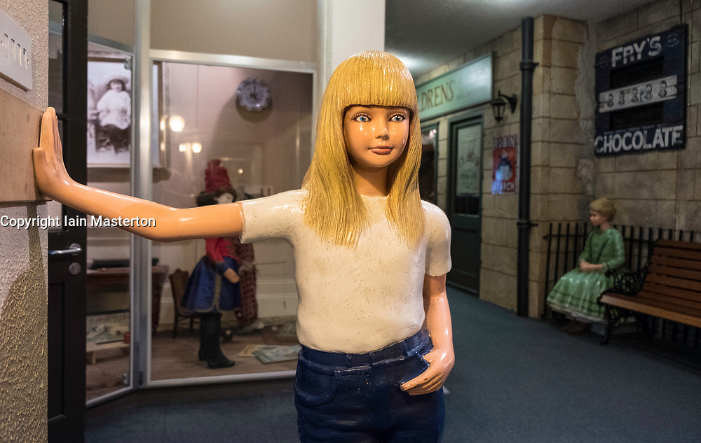 Teenage girl figure on display at  refurbished Museum of Childhood on the Royal Mile in Edinburgh Old Town, Scotland, United Kingdom
