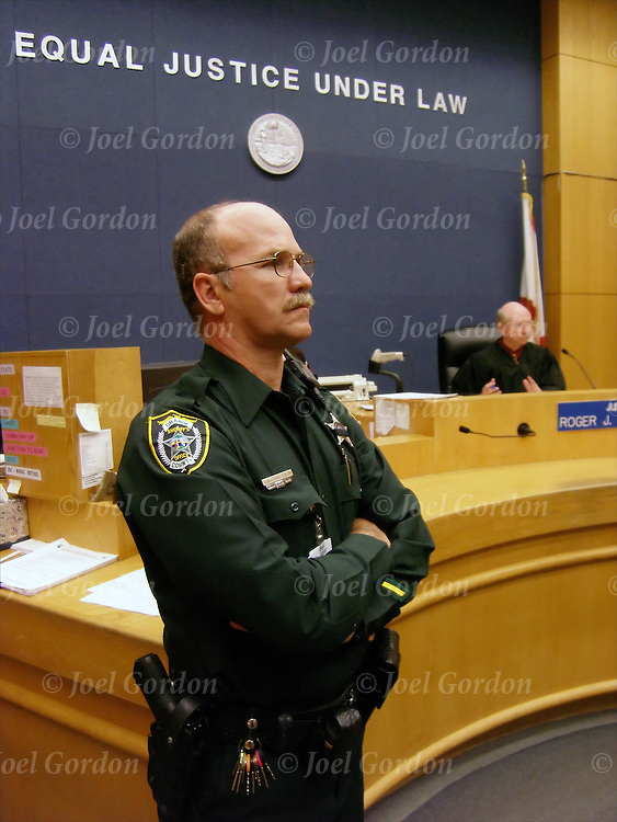 Court Deputy in court room in Juvenile Court of the Ninth Judicial Circuit Court of Florida Orlando Florida