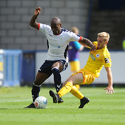 TELFORD COPYRIGHT MIKE SHERIDAN 25/8/2018 - Theo Streete of AFC Telford battles for the ball with Matthew Waters of Chester during the Vanarama Conference North fixture between AFC Telford United and Chester City.
