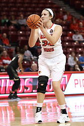 04 November 2015: Kalyn Gebhardt(34) lines one up. Illinois State University Women's Basketball team hosted The Lions from Lindenwood for an exhibition game at Redbird Arena in Normal Illinois.