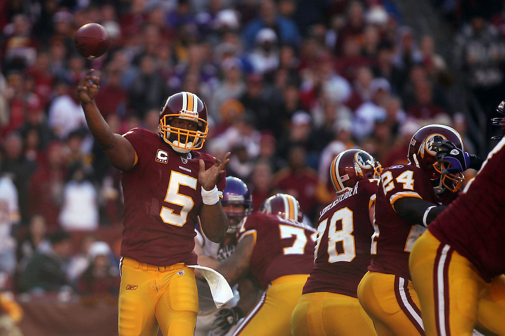 Landover, Md., Nov. 28, 2010 - Redskins vs. Vikings - McNabb passes in the 2nd quarter.  (Photo by Jay Westcott/TBD)