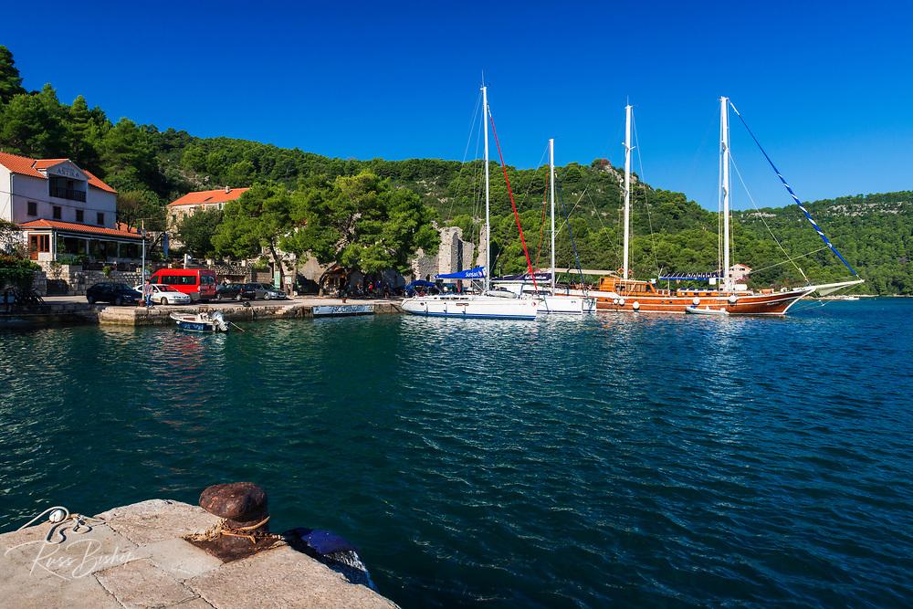 Sailboats in the harbor at Polace, Mljet Island National Park, Dalmatia, Croatia