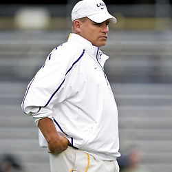 18 April 2009: LSU head coach Les Miles watches his team during the 2009 LSU spring football game at Tiger Stadium in Baton Rouge, LA.