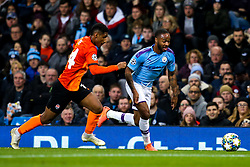 Raheem Sterling of Manchester City takes on Tete of Shakhtar Donetsk - Mandatory by-line: Robbie Stephenson/JMP - 26/11/2019 - FOOTBALL - Etihad Stadium - Manchester, England - Manchester City v Shakhtar Donetsk - UEFA Champions League Group Stage