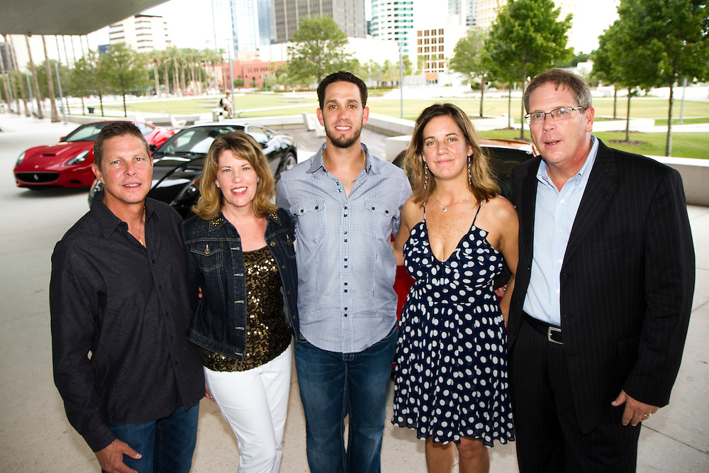 TP_340310_FREE_RAYSRUNWAY_..Caption:(Wednesday 06/29/2011 Tampa) David and Dana Brandon, Rays pitcher James Shields, Laura and Aaron Baughner ..Summary:Tampa Bay Rays and their wives walk the runway escorting children with life-threatening illnesses during the annual Rays on the Runway fashion event at the Tampa Museum of Art...Photo by James Branaman