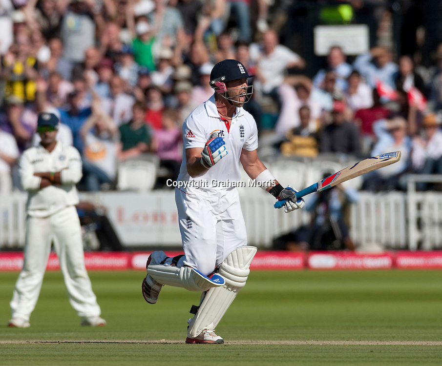 Matt Prior celebrates his century during the first npower Test Match between England and India at Lord's Cricket Ground, London.  Photo: Graham Morris (Tel: +44(0)20 8969 4192 Email: sales@cricketpix.com) 24/07/11