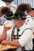 Villagers at beer festival in the village of Klais in Bavaria, Germany