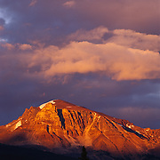Solitary peak at sunset in Jasper National Park, Alberta, Canada.