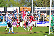 Wrexham Forward Jordan White goes for goal during the Vanarama National League match between Bromley FC and Wrexham FC at Hayes Lane, Bromley, United Kingdom on 8 April 2017. Photo by Jon Bromley.