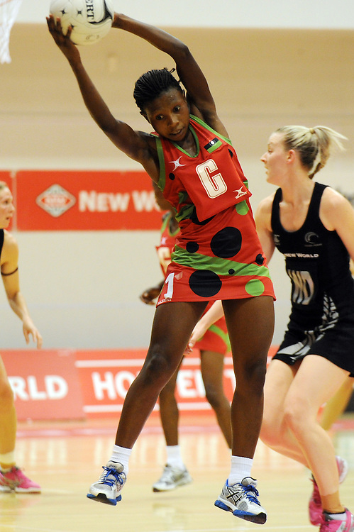 Malawis' Takondwa Lwazi against New Zealand in the International Netball test at Pettigrew Green Arena, Napier, New Zealand, Sunday, October 27, 2013. Credit:SNPA / Ross Setford