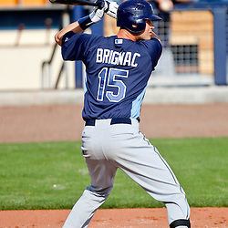 February 25, 2011; Port Charlotte, FL, USA; Tampa Bay Rays second baseman Reid Brignac (15) during a spring training split squad scrimmage at Charlotte Sports Park.  Mandatory Credit: Derick E. Hingle