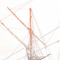 The picturesque representation of a sailboat mast.
