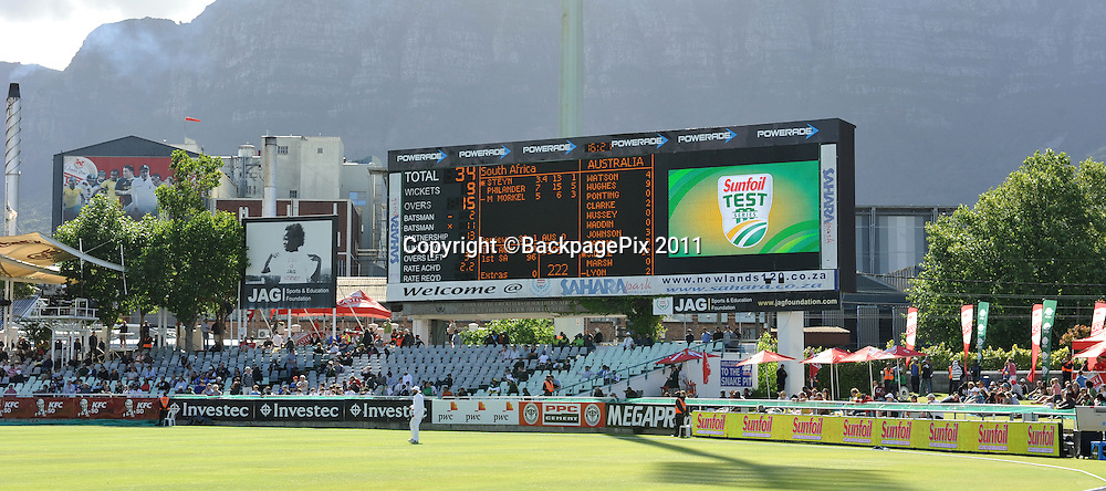 General view of the scoreboard at Newlands as South Africa have Australia on the ropes. South Africa v Australia, first test, day 2, Newlands, South Africa. 10 November 2011<br /> <br /> <br /> &copy;Ryan Wilkisky/BackpagePix