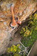 "Lauren Lee McCormick climbing ""Lost & Found"" 12b, Rifle Mountain Park, Rifle Colorado."