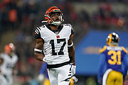 Cincinnati Bengals Wide receiver Stanley Morgan Jr (17) during the International Series match between Los Angeles Rams and Cincinnati Bengals at Wembley Stadium, London, England on 27 October 2019.