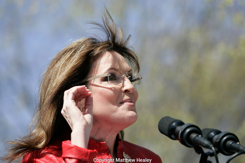 Former Alaska Governor Sarah Palin speaks at a Tea Party Express rally on Boston Common in Boston, Massachusetts on Wednesday, April 14, 2010.     Photo by Matthew Healey