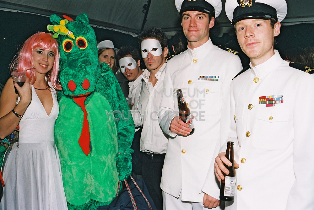 A group in fancy dress poses at Return to Narnia, Pushca, New Years Eve, 2004