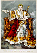 Napoleon Bonparte (1769-1821) in coronation robes as Emperor Napoleon I of France. Crowned in Notre Dame, Pasris, 2 December 1804. Mid-19th century print.