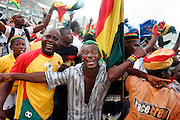 Ghanian fans celebrate their teams lead over Morocco at half time.  Ghana V Morocco. African Cup of Nations 2008. Ohene Djan Stadium. Accra. Ghana. West Africa..28th January 2008..©Picture Zute Lightfoot.  07939 108077. www.lightfootphoto.co.uk