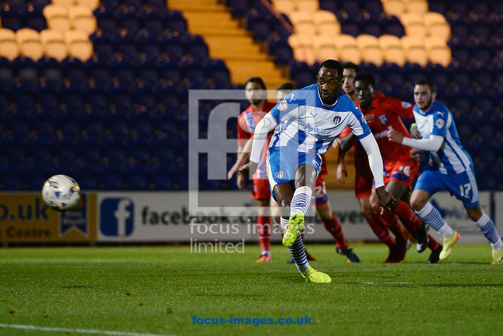 Sanchez Watt of Colchester United scores a goal to make the scoreline 2-1 during the Johnstone's Paint Trophy match between Colchester United and Gillingham at the Weston Homes Community Stadium, Colchester<br /> Picture by Richard Blaxall/Focus Images Ltd +44 7853 364624<br /> 07/10/2014