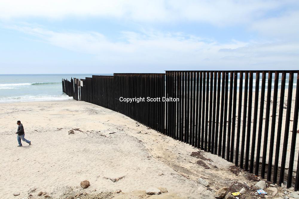 The border wall as it reaches into the Pacific Ocean in Las Playas de Tijuana, Mexico on April 27, 2010. (Photo/Scott Dalton)