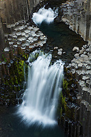 13.08.2008<br /> Litlanesfoss waterfall<br /> Hengifoss&aacute; river<br /> Basalt lava solidified in hexagonal columns<br /> Iceland
