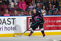 KELOWNA, BC - SEPTEMBER 21:  Michael Farren #16 of the Kelowna Rockets looks for the pass against the Spokane Chiefs at Prospera Place on September 21, 2019 in Kelowna, Canada. (Photo by Marissa Baecker/Shoot the Breeze)