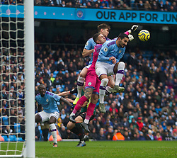 Ederson of Manchester City (C) punches the ball clear - Mandatory by-line: Jack Phillips/JMP - 26/10/2019 - FOOTBALL - Etihad Stadium - Manchester, England - Manchester City v Aston Villa - English Premier League