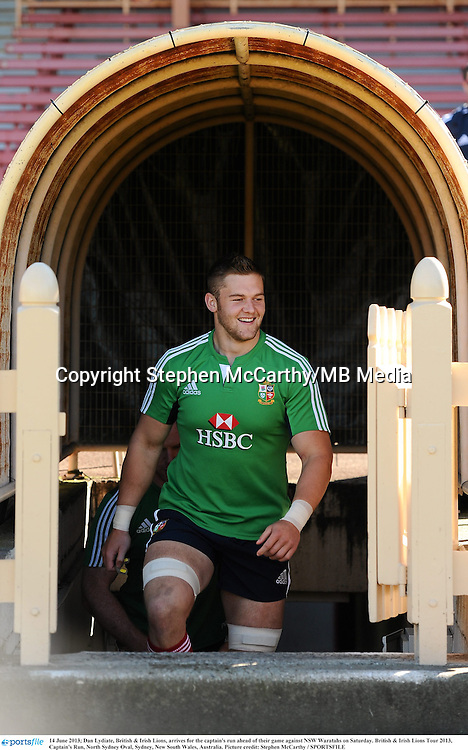 14 June 2013; Dan Lydiate, British & Irish Lions, arrives for the captain's run ahead of their game against NSW Waratahs on Saturday. British & Irish Lions Tour 2013, Captain's Run, North Sydney Oval, Sydney, New South Wales, Australia. Picture credit: Stephen McCarthy / SPORTSFILE