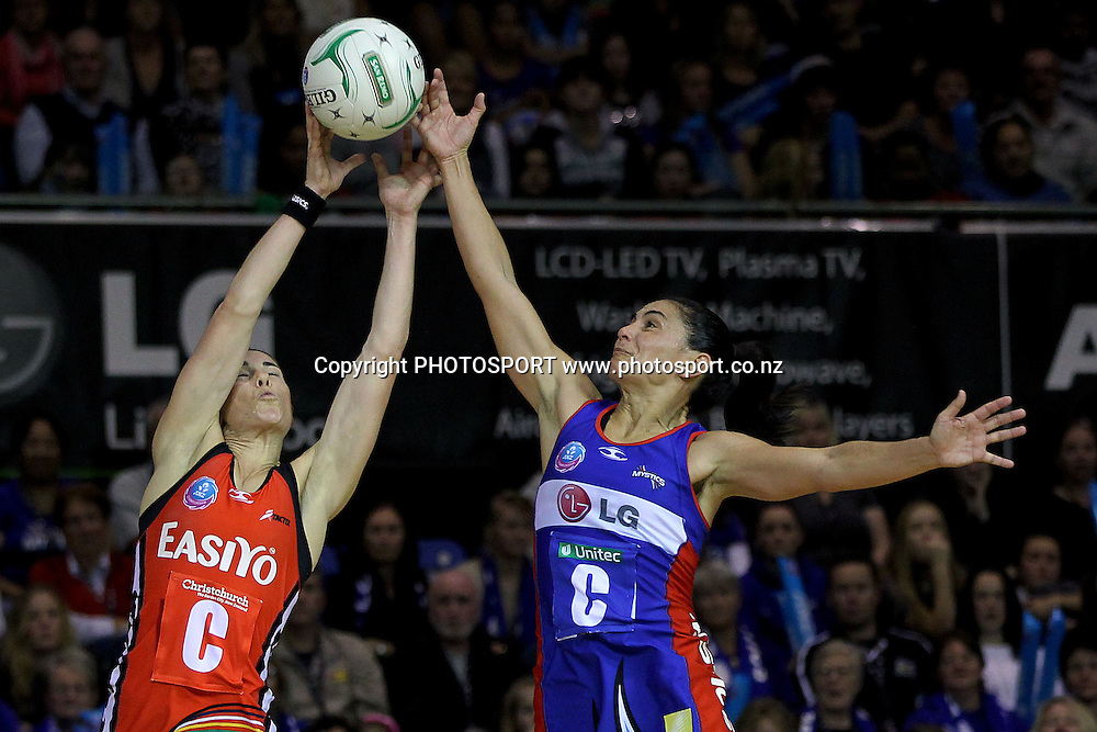 Mystics' Temepara George competes against Tactix's Maree Bowden. ANZ Netball Championship, Northern Mystics v Canterbury Tactix, Trusts Stadium, Auckland, New Zealand. Sunday 27th May 2012. Photo: Anthony Au-Yeung / photosport.co.nz