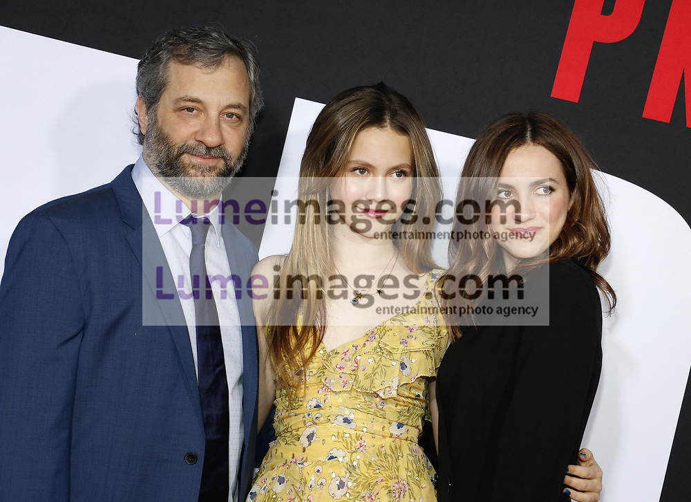 Judd Apatow, Maude Apatow and Iris Apatow at the Los Angeles premiere of 'Blockers' held at the Regency Village Theatre in Westwood, USA on April 3, 2018.