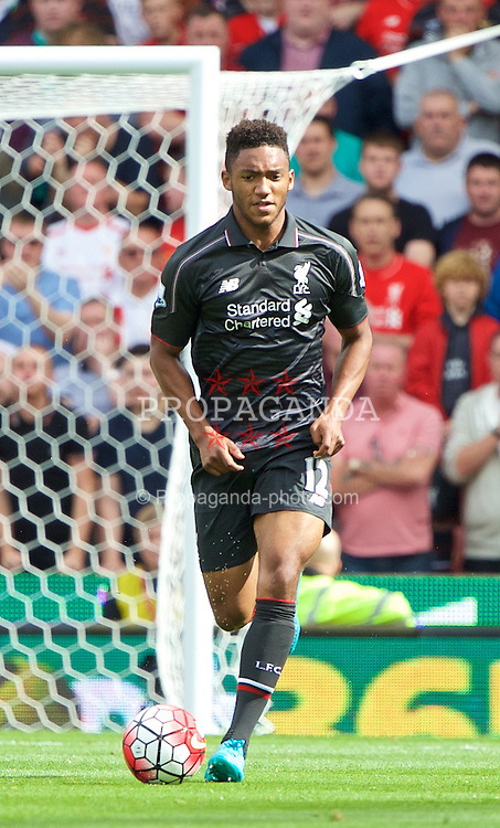 STOKE-ON-TRENT, ENGLAND - Sunday, August 9, 2015: Liverpool's Joe Gomez in action against Stoke City during the Premier League match at the Britannia Stadium. (Pic by David Rawcliffe/Propaganda)