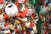 Love locks on happiness trees on Luzhkov Bridge, Moscow, Russia