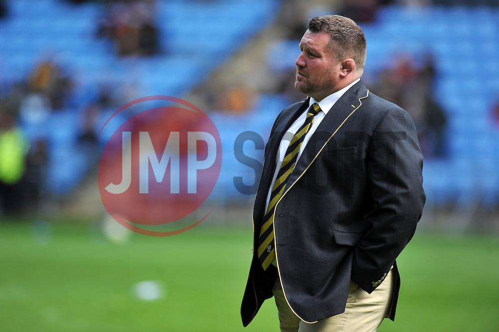 Wasps Director of Rugby Dai Young looks on during the pre-match warm-up - Photo mandatory by-line: Patrick Khachfe/JMP - Mobile: 07966 386802 26/04/2015 - SPORT - RUGBY UNION - Coventry - Ricoh Arena - Wasps v Exeter Chiefs - Aviva Premiership