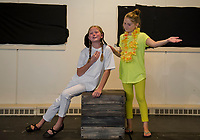 "Isabella Cottrell ""Snoopy"" and Abby Wernig ""Woodstock"" during dress rehearsal for ""You're A Good Man, Charlie Brown"" with SKYT - Streetcar Kids and Youth Theater Sunday evening at Gilford Methodist Church.  (Karen Bobotas/for the Laconia Daily Sun)"