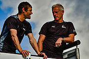 Chris Read and Peter Moores before the start of day 4 of the Specsavers County Champ Div 2 match between Sussex County Cricket Club and Nottinghamshire County Cricket Club at the 1st Central County Ground, Hove, United Kingdom on 28 September 2017. Photo by Simon Trafford.