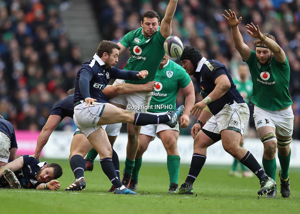 RBS 6 Nations Championship Round 1, BT Murrayfield, Scotland 4/2/2017<br /> Scotland vs Ireland<br /> Ireland&rsquo;s Robbie Henshaw and Iain Henderson with Scotland&rsquo;s Greig Laidlaw<br /> Mandatory Credit &copy;INPHO/Billy Stickland