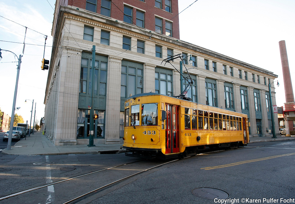 Trolley outside Central Station, downtown Memphis, Tennessee.(photo by Karen Pulfer Focht)