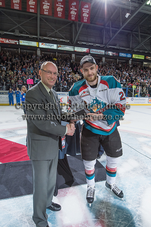 KELOWNA, CANADA - MAY 13:  WHL Vice President of Hockey Richard Doerksen presents Leon Draisaitl #29 of Kelowna Rockets the WHL Playoffs MVP award on May 13, 2015 during game 4 of the WHL final series at Prospera Place in Kelowna, British Columbia, Canada.  (Photo by Marissa Baecker/Shoot the Breeze)  *** Local Caption *** Leon Draisaitl; Richard Doerksen;