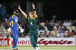 © Licensed to London News Pictures. 08/03/2012. Adelaide Oval, Australia. Shane Watson celebrates after getting the wicket of .Upul Tharanga during the One Day International cricket match final between Australia Vs Sri Lanka. Photo credit : Asanka Brendon Ratnayake/LNP