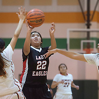 Crownpoint Eagle Tiandra Stevenson (22) take a two point shot during the game against Wingate in Wingate Wednesday.