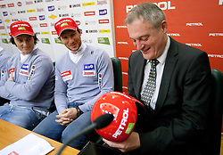 Rok Perko, Andrej Jerman and Aleksander svetelsek, general manager of Petrol at press conference of Men Alpine Ski team and sponsor Petrol, on December 8, 2010 in Petrol, Ljubljana, Slovenia. (Photo By Vid Ponikvar / Sportida.com)