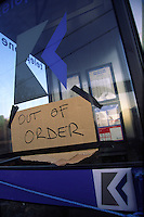 Out of order sign on a Kingston Communications telephone box.