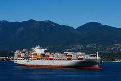Container ship Paxi, Vancouver Harbor, Vancouver, British Columbia, Canada