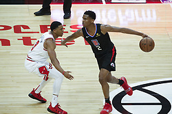 March 15, 2019 - Los Angeles, California, U.S - Los Angeles ClippersÃ• Shai Gilgeous-Alexander (2) drives against Chicago Bulls' Shaquille Harrison (3) during an NBA basketball game between Los Angeles Clippers and Chicago Bulls Friday, March 15, 2019, in Los Angeles. The Clippers won 128-121. (Credit Image: © Ringo Chiu/ZUMA Wire)