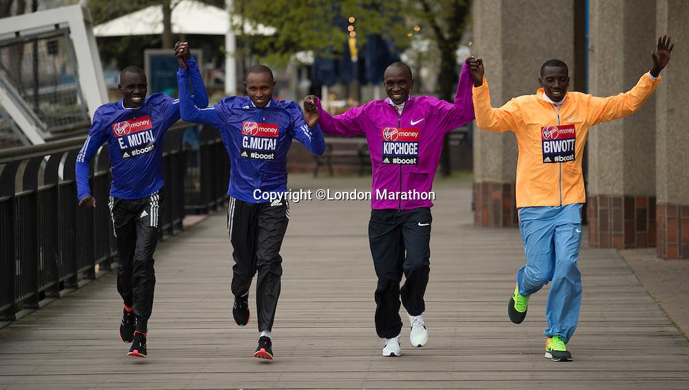 Virgin Money London Marathon 2015<br /> <br /> Press conference featuring some of the the leading contenders for the London Marathon.<br /> <br /> Left to Right<br /> Emmanuel Mutai  Kenya<br /> Geoffrey Mutai  Kenya<br /> Eliud Kipchoge  Kenya<br /> Stanley Biwott  Kenya<br /> <br /> Photo: Bob Martin for Virgin Money London Marathon<br /> <br /> This photograph is supplied free to use by London Marathon/Virgin Money.