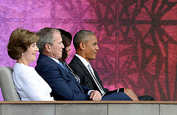 (L to R) : Former First Lady Laura Bush, former President George W. Bush, U.S President Barack Obama and First Lady Michelle Obama attend the opening ceremony of the Smithsonian National Museum of African American History and Culture in Washington, DC, USA on September 24, 2016. The museum is opening thirteen years after Congress and President George W. Bush authorized its construction. Photo by Olivier Douliery/ABACAPRESS.COM